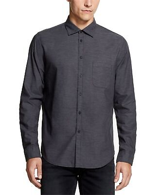 DKNY Mens Shirts Gray Size XL Button Down Chambray Woven Spread Collar $79 004