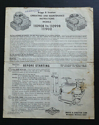 Briggs & Stratton Engine Operating Instructions 110908 to 110998 111902 Guide