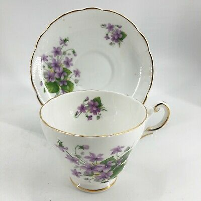 Regency & Hammersley English Bone China Tea Cup Saucer Victorian Purple Violets