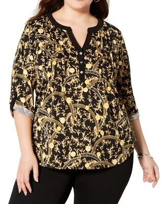 NY Collection Womens Top Black Gold 1X Plus Baroque Pintuck Split-Neck $49 057