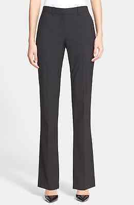 Theory Womens Dress Pants Black Size 12 Custom Max Flat-Front Stretch $295 373