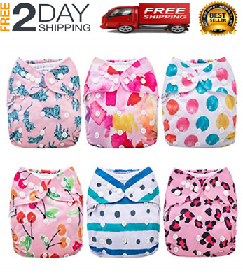 Cloth Diapers, 6 Pack Adjustable Size, Waterproof, Washable Pocket Cloth Diaper