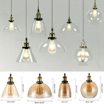 Retro Industrial Pendant Ceiling Light Glass Lampshade Shade Nordic style Lamps