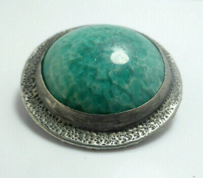 Fine Lovely Antique Art Nouveau Arts & Crafts Ruskin Pottery Pewter Pin Brooch