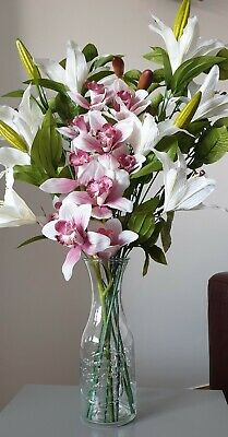 Artificial silk flower arrangement, orchid & lily flower display