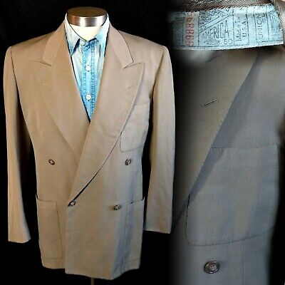 Vintage 1940s 4x2 Double Breasted Patch Pocket Sportcoat Suit Jacket 38 40