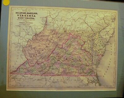 1895 Map Virginia Maryland West Virginia Delaware Matted Antique 11x14 Print