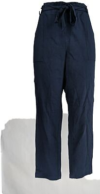 Anybody Women's Pants Sz L French Terry W/ Paperbag Waist Blue A367666