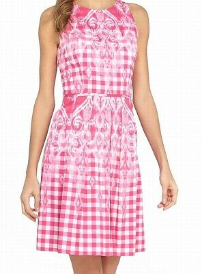 Tahari By ASL NEW Pink WomeN Size 14P Petite Gingham PrinT A-Line Dress $134 268