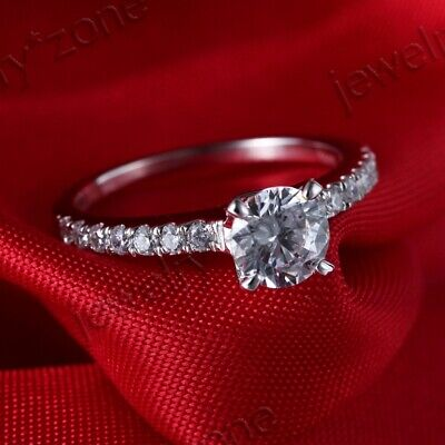 1Ct Cubic Zirconia Round Cut 6.5mm Sterling Silver 925 Engagement Wedding Ring