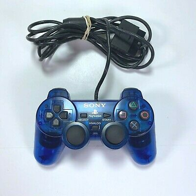Sony PS2 Playstation 2 OEM Dual Shock 2 Controller Ocean Blue Clear Blue TESTED