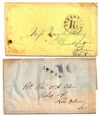 1840's STEAM STEAMSHIP Stampless Covers BISHOP OF NEW ORLEANS / HAVANA CUBA