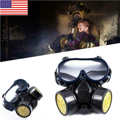 New Emergency Respirator Mask Chemical Gas Mask with Goggles Dual Protection