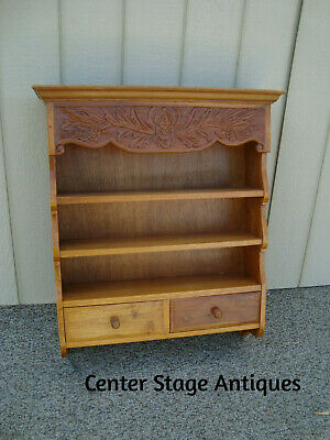 60180 Solid Mahogany Whatnot Wall Shelf with 2 Drawers Curio Bookcase