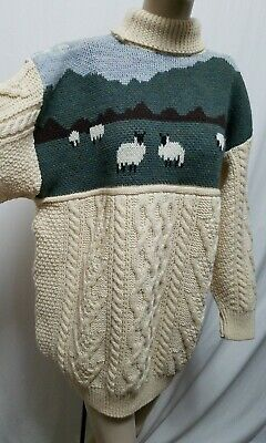 Wool Naturally NEW Turtleneck Sheep Cable Knit Sweater Sz L