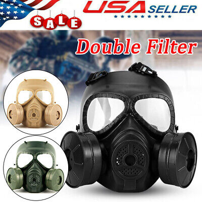 Air Purifying Gas Mask Double Filter Fan Perspiration CS Edition Full Face Guard