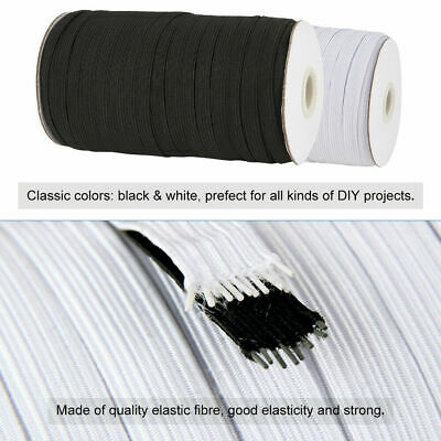 1Roll Black White Elastic Fibre Flat Elastic Cord Mask Ear Tie Rope for DIY Mask
