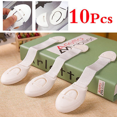 10Pc Baby Kids Child Adhesive Safety Lock For Cabinet Door Drawers Refrigerator~