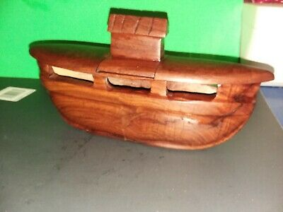 Beautiful Vintage Teak Wood Hand Carved Noah's Ark