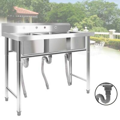 """39"""" Wide 1/3 Compartment Stainless Steel Commercial Bar Sink Kitchen Sink"""
