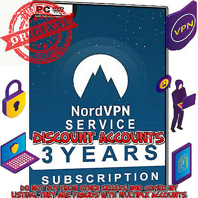 Nord VPN 3 Year REAL ACCOUNT Pro Subscription worth $382 Protect Yourself Online