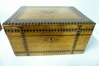 Antique Inlaid Parquetry Writing Box Jewellery Deed Vanity Case Chest Treen