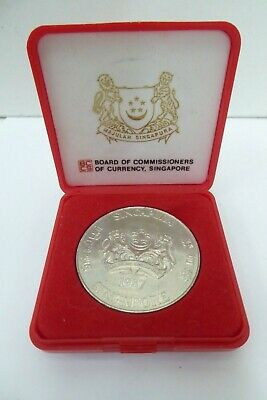 1987 Singapore $10 Silver Coin In Case Lunar Year Of The Rabbit Currency Board