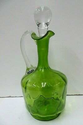 Antique Dimpled Green Glass Wine Bar Decanter Jug