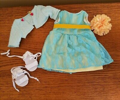 Lace blue dress cape outfit shoes 18 inch doll fits american girl