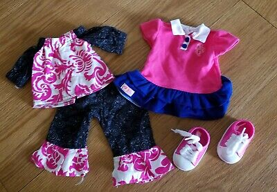 Mix match pink blue black 2 outfit shoes 18 inch doll fits american girl