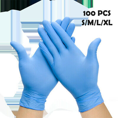 100x Blue Nitrile Extra Strong Powder Latex Free Disposable Gloves Mechanic New
