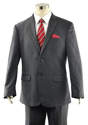 JOS A BANK Men's 41R Slim Fit Solid Gray 2-Btn Dual Vent Modern JOSEPH Wool Suit