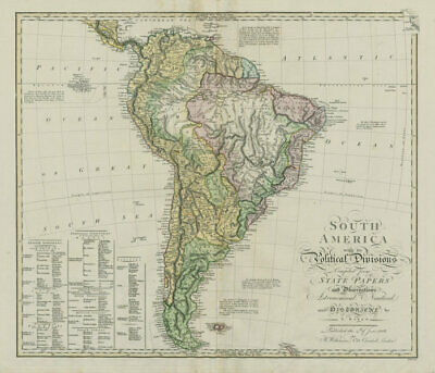 South America with its Political Divisions. BAKER / BOURNE 1806 old map