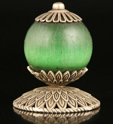Unique China Tibet Silver Jade Hand-Carved Hat Top High-End Gift Collection Old
