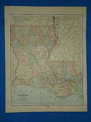 Vintage 1892 MAP ~ LOUISIANA ~ Old Antique Original Atlas Map