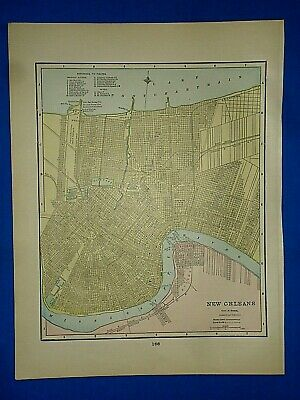 Vintage 1892 MAP ~ NEW ORLEANS, LOUISIANA ~ Old Antique Original Atlas Map