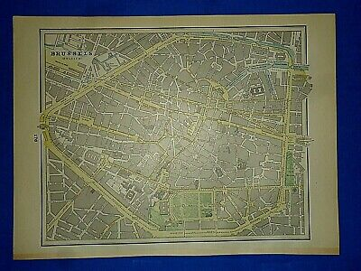 Vintage 1892 MAP ~ BRUSSELS, BELGIUM ~ Old Antique Original Atlas Map