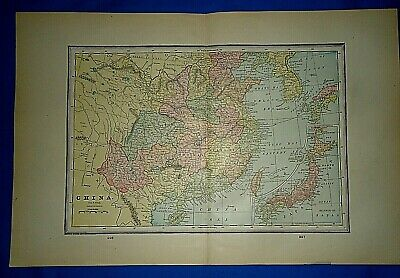 Vintage 1892 MAP ~ CHINA - JAPAN - (COREA) ~ Old Antique Original Atlas Map