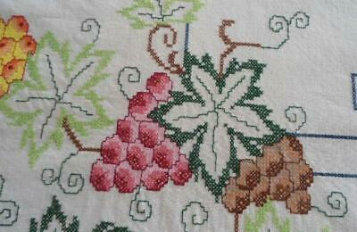 Vintage Hand Embroidered Tablecloth Red Berries Green Leaves Grapes Fruit 82""