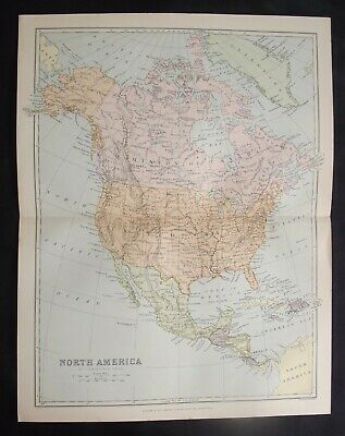 Antique Map: North America by John Bartholomew, 1892, Colour