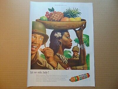 1944 LIFE SAVERS TROPICAL NATIVE GIRL Fruit Bowl WWII Soldiers vintage print ad