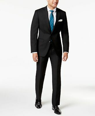 Calvin Klein NEW Solid Black Men's Size 40R Two Button Wool Suit $650 226