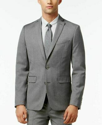 Bar III Mens Blazer Gray Size 40 Two Button Dual Pocket Suit Stretch $425 142
