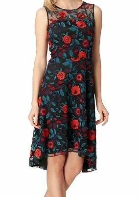 Tahari By ASL Womens Dress Black Multi Size 4 A-Line Embroidered Hi-Lo $158 094
