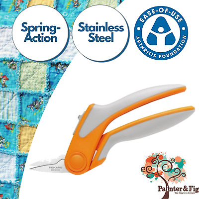 Fiskars Scissors Easy-Action Rag Quilting Shears, Serrated Snips - Arthritis