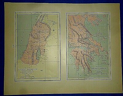 Vintage Historical Map ~ ANCIENT PALESTINE - GREECE ~  Printed in 1892
