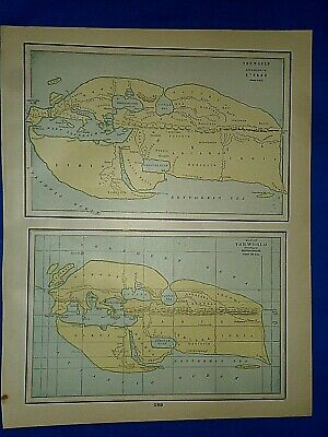 Vintage Historical Map THE WORLD ACCORDING to STRABO / ERATOSTHENES Printed 1892