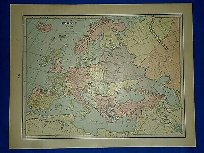 Vintage Historical Map ~ EUROPE A.D. 1000 ~  Printed in 1892