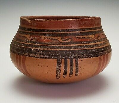 Antique Ancient Pre-Columbian Polychrome Painted Pottery Vessel - Mayan