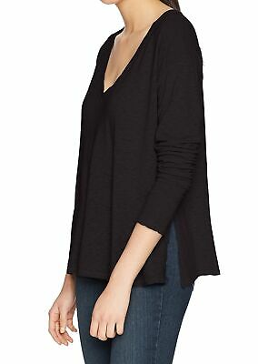 Three Dots Womens Top Black Size Small S V-Neck Solid Stretch Knit $84 825